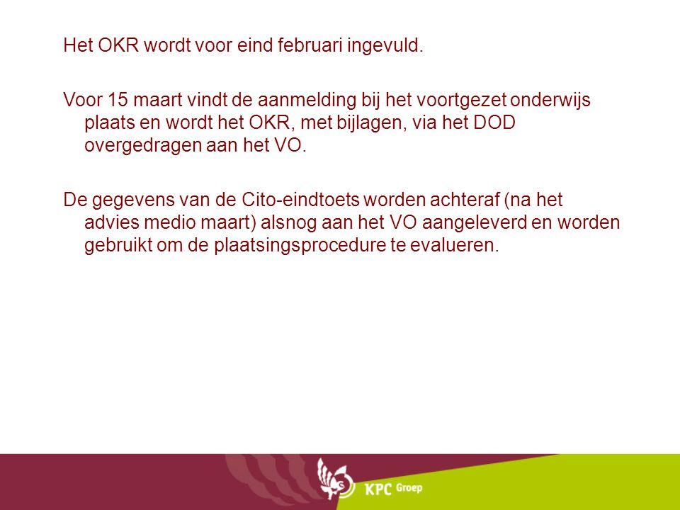 Het OKR wordt voor eind februari ingevuld. Voor 15 maart vindt de aanmelding bij het voortgezet onderwijs plaats en wordt het OKR, met bijlagen, via h