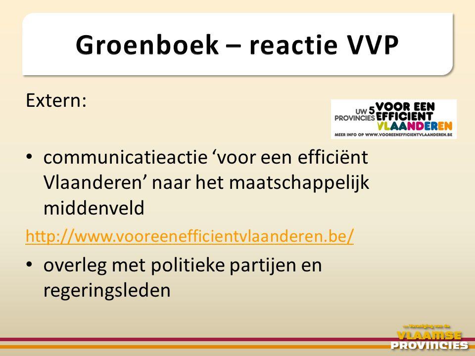 Extern: • communicatieactie 'voor een efficiënt Vlaanderen' naar het maatschappelijk middenveld http://www.vooreenefficientvlaanderen.be/ • overleg me