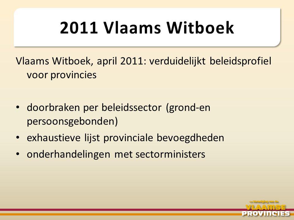 Vlaams Witboek, april 2011: verduidelijkt beleidsprofiel voor provincies • doorbraken per beleidssector (grond-en persoonsgebonden) • exhaustieve lijs