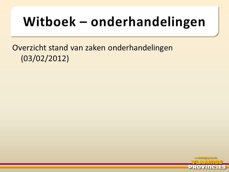 Overzicht stand van zaken onderhandelingen (03/02/2012)