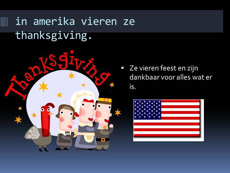 in amerika vieren ze thanksgiving.  Ze vieren feest en zijn dankbaar voor alles wat er is.