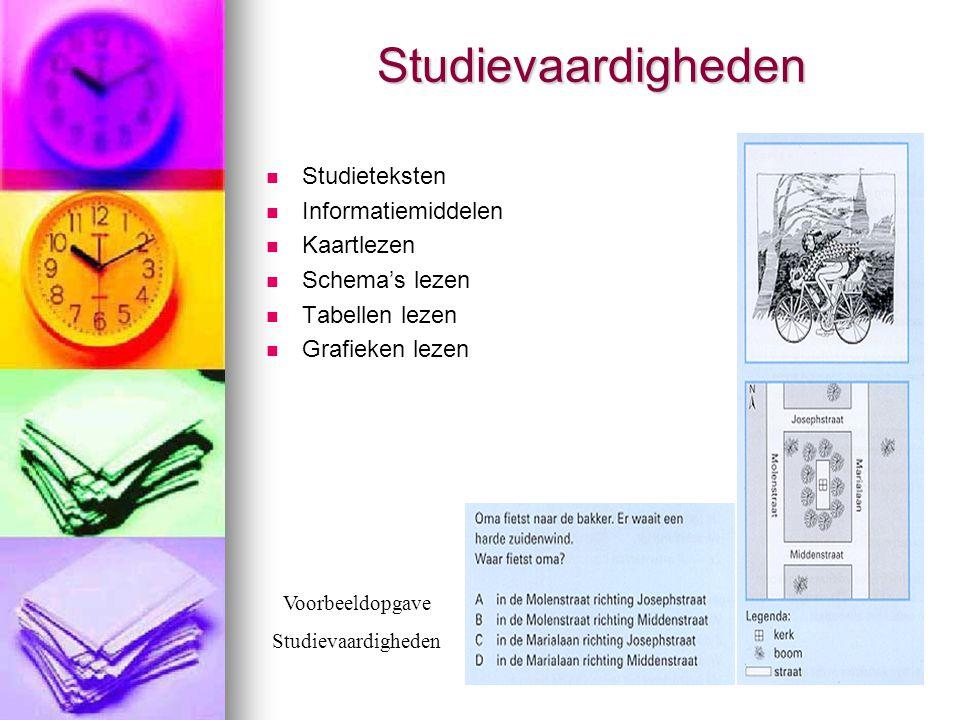 Studievaardigheden  Studieteksten  Informatiemiddelen  Kaartlezen  Schema's lezen  Tabellen lezen  Grafieken lezen Voorbeeldopgave Studievaardig