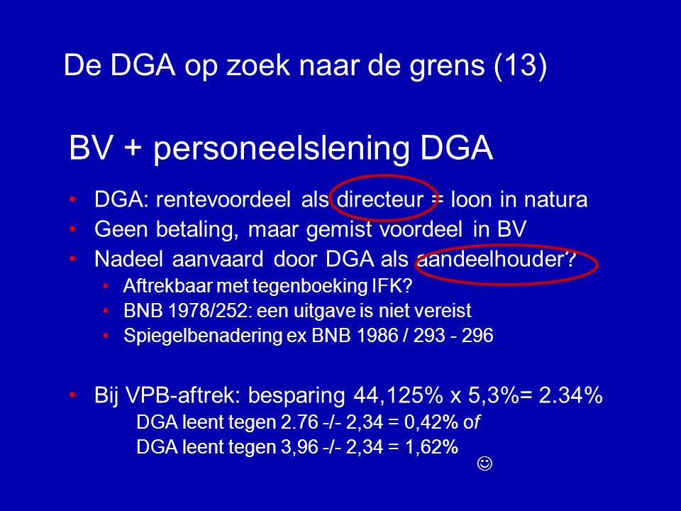 De DGA op zoek naar de grens (12) DGA + personeelslening •Doel renteloze lening >> loon nihil of 5,3% (art.