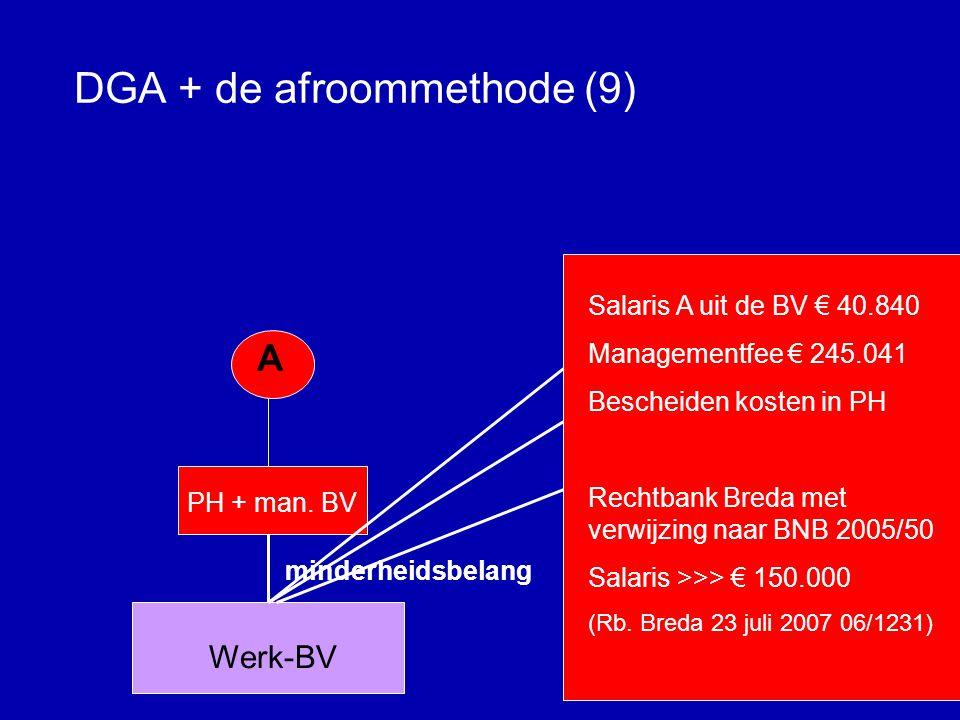 DGA + de afroommethode (8) •Zorgplicht van de adviseur •Melden; aanpassen beloning •Vaststellingsovereenkomst bij de fiscus regelen.