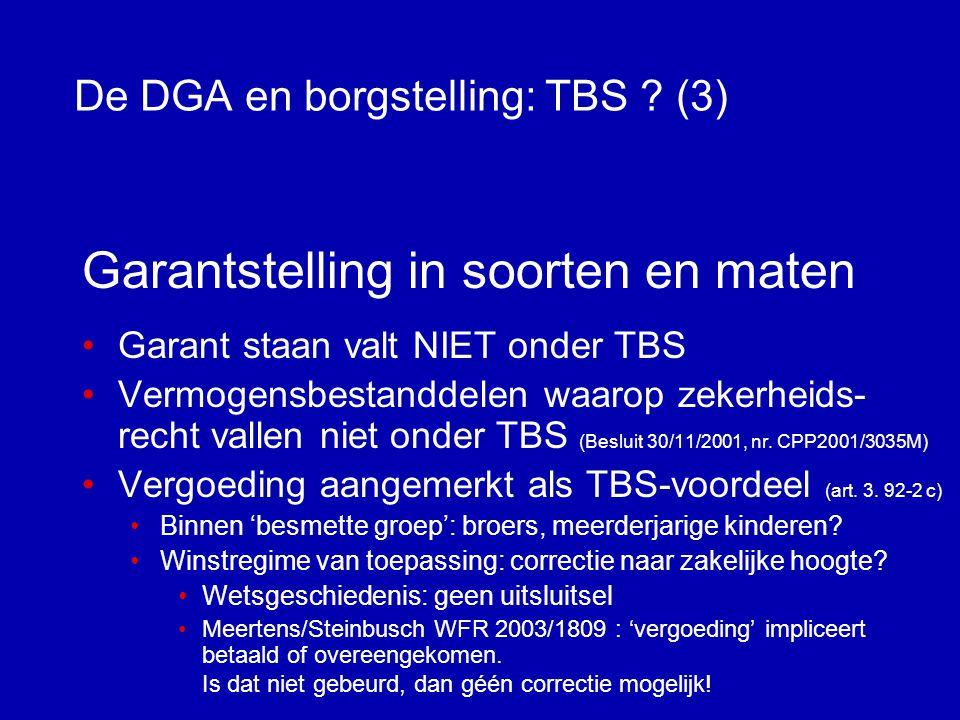 De DGA en borgstelling: TBS .(2) DGA Holding Werk-BV uitwinnen BANK krediet betalen.