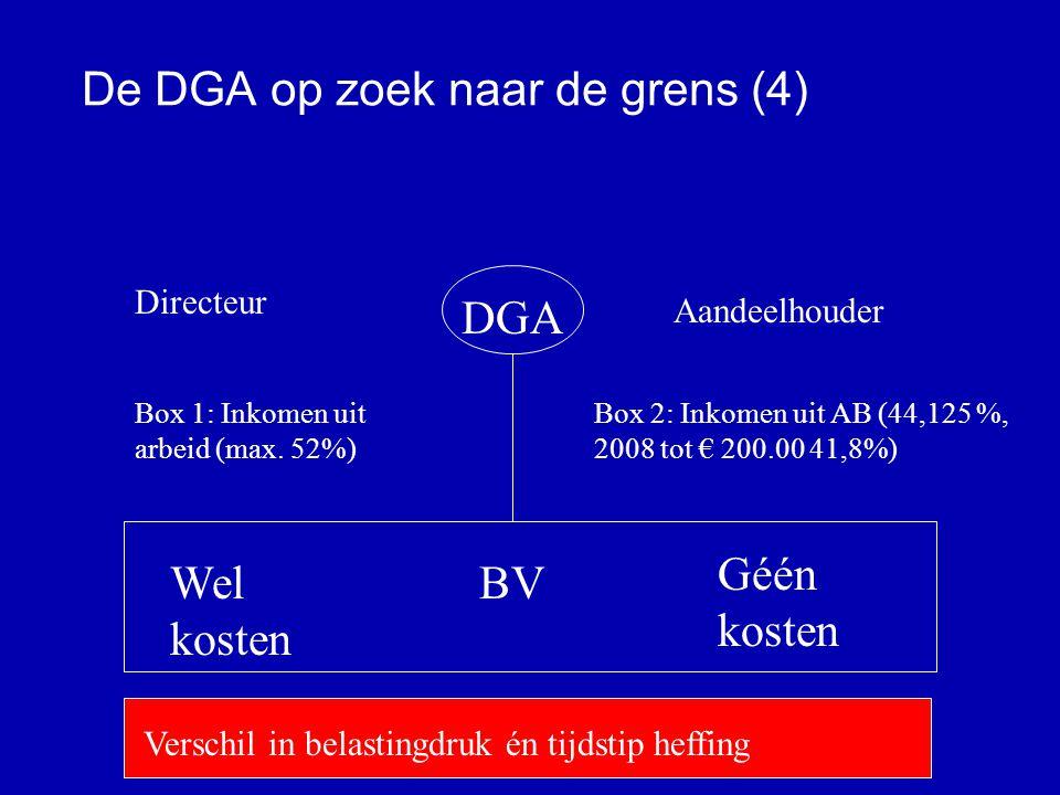 De DGA op zoek naar de grens (3) Box 1 Salaris TBS (divers) Eigen woning Box 3 EffectenVakantiehuisetc Box 2 AB-aandelen De DGA en boxhoppen De DGA ervaart eerder / nadrukkelijker de mankementen in het boxenstelsel