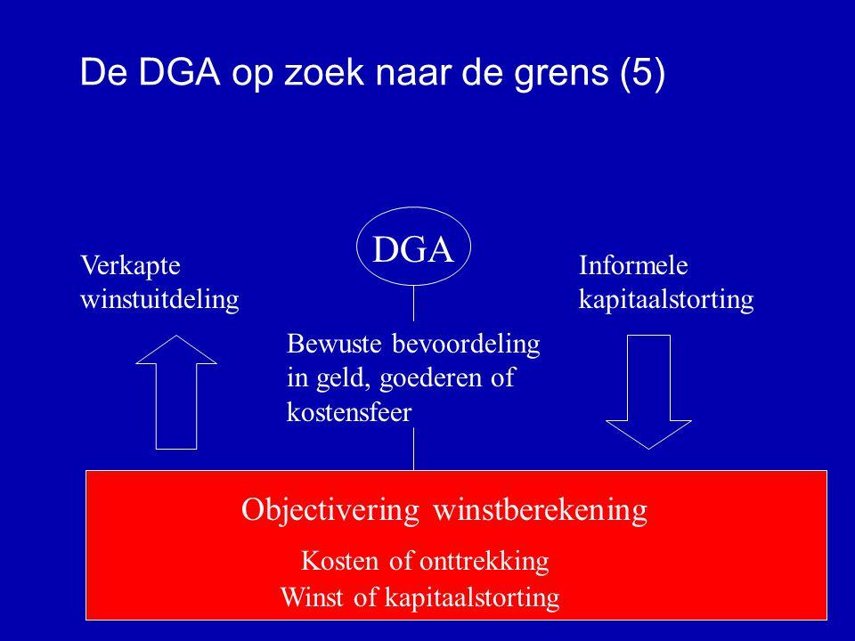 De DGA op zoek naar de grens (4) Wel kosten Géén kosten BV DGA Directeur Aandeelhouder Box 2: Inkomen uit AB (44,125 %, 2008 tot € 200.00 41,8%) Box 1: Inkomen uit arbeid (max.