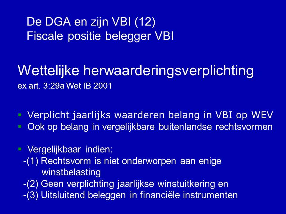 De DGA en zijn VBI (11) Fiscale positie belegger VBI Box 1 belegger >>Jaarlijks WEV; belastingheffing waardeaangroei (max.