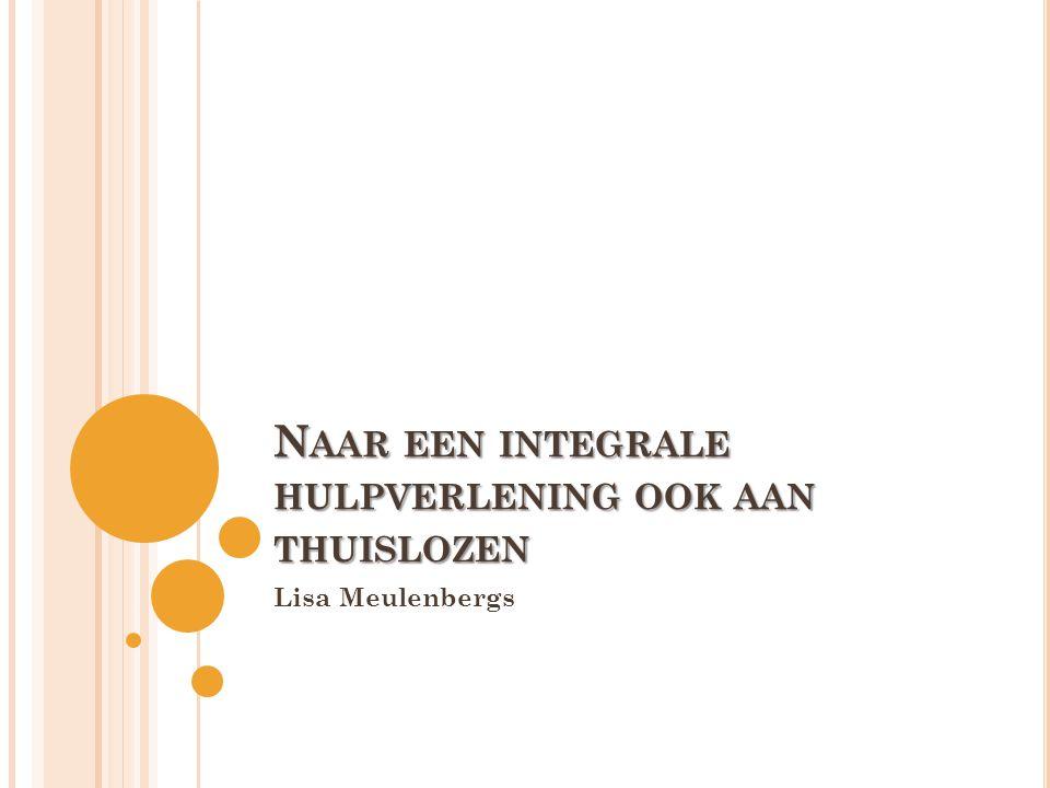 T HUISLOZEN IN DE 21 E E EUW • Groot verschil tussen Nederland en Vlaanderen • '90: thuislozen tengevolge van ingrijpende herstructuering opgenomen in sector v/h autonoom algemeen welzijnswerk • Vandaag: officieel niet meer gesproken worden over thuislozenzorg > geen duidelijk begrip meer hebben • Thuisloosheid bestaat wel nog in alle culturen • 'Innovaties i/d thuislozenzorg' v/h Steunpunt Algemeen Welzijnswerk: 2001 een progamma opgestart en 'strategisch'> eens hoger op wetenschappelijke én politieke agenda te plaatsten