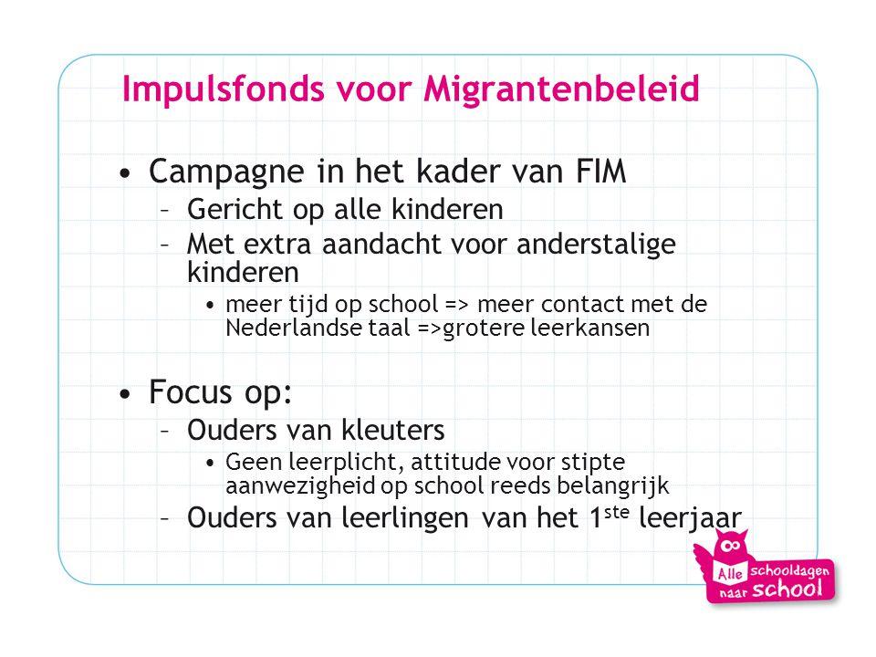 Impulsfonds voor Migrantenbeleid •Campagne in het kader van FIM –Gericht op alle kinderen –Met extra aandacht voor anderstalige kinderen •meer tijd op