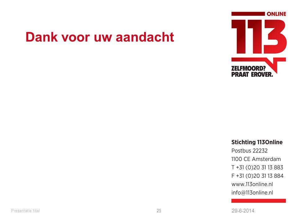 Dank voor uw aandacht 29-6-2014 Presentatie titel25