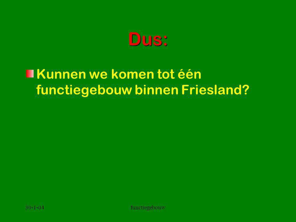 30-1-04functiegebouw Dus: Kunnen we komen tot één functiegebouw binnen Friesland?