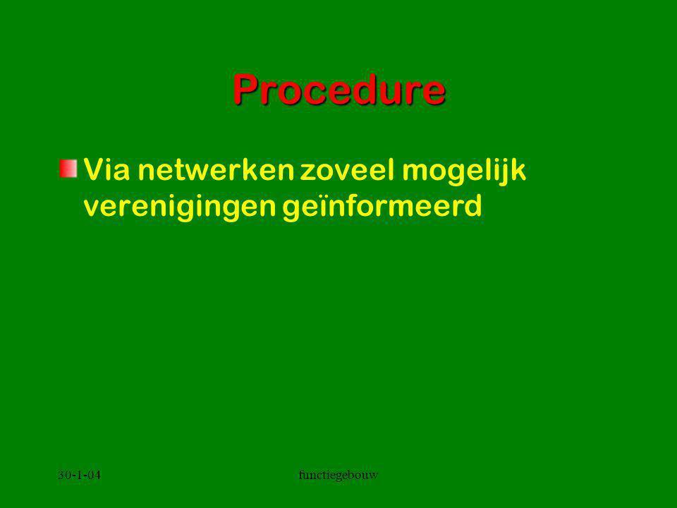 30-1-04functiegebouw Procedure Via netwerken zoveel mogelijk verenigingen geïnformeerd