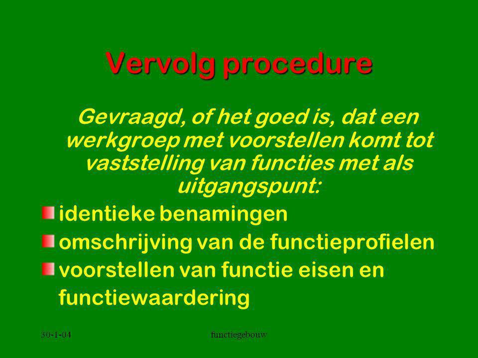 30-1-04functiegebouw Vervolg procedure Gevraagd, of het goed is, dat een werkgroep met voorstellen komt tot vaststelling van functies met als uitgangs