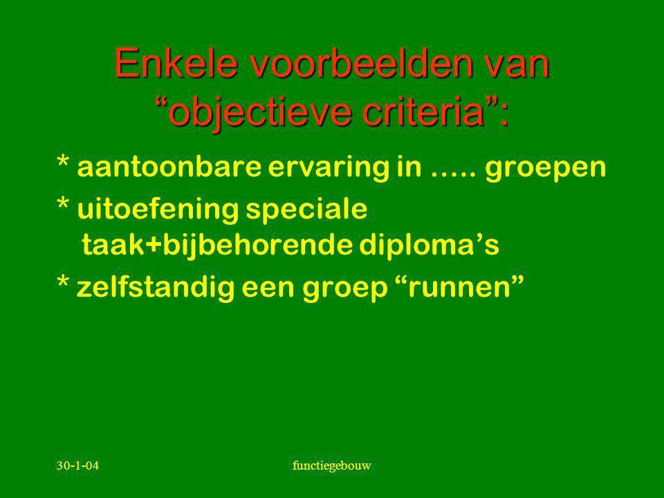 """30-1-04functiegebouw Enkele voorbeelden van """"objectieve criteria"""": * aantoonbare ervaring in ….. groepen * uitoefening speciale taak+bijbehorende dipl"""