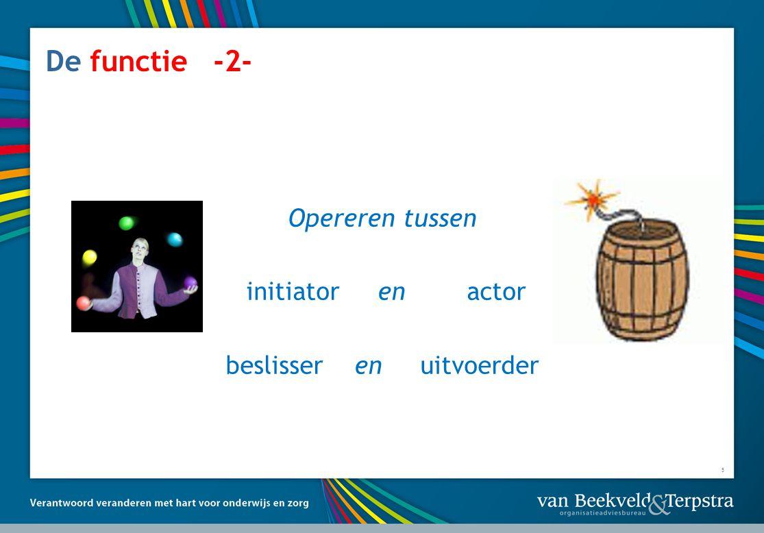 5 De functie -2- Opereren tussen initiator en actor beslisser en uitvoerder