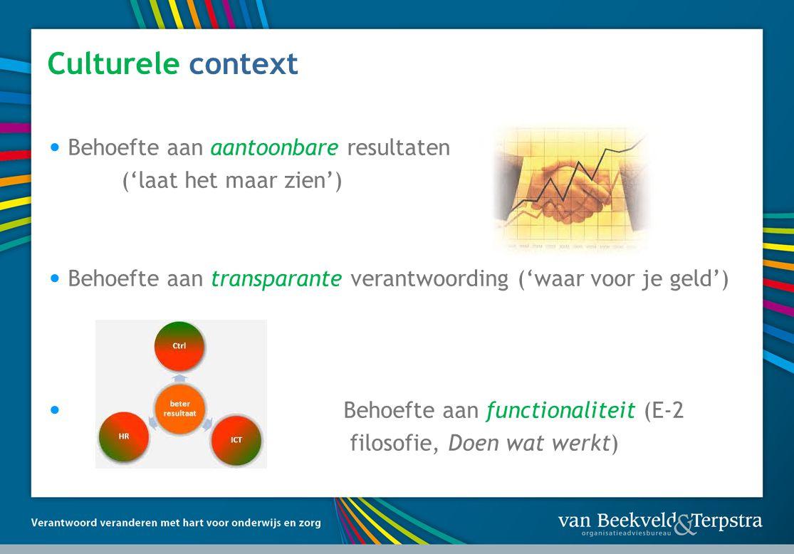 Culturele context • Behoefte aan aantoonbare resultaten ('laat het maar zien') • Behoefte aan transparante verantwoording ('waar voor je geld') • Beho