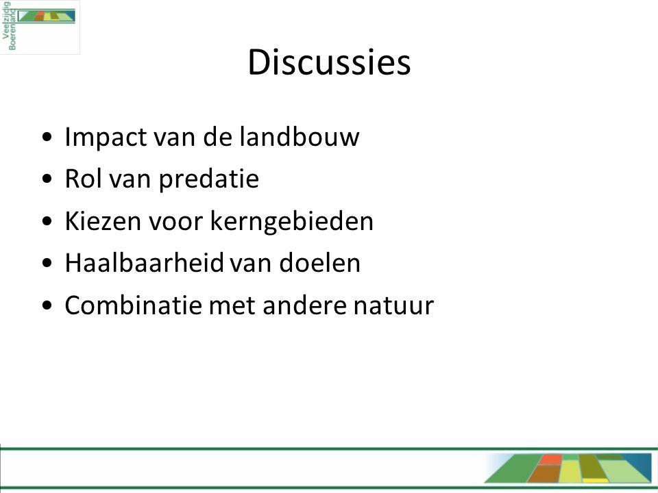 Discussies •Impact van de landbouw •Rol van predatie •Kiezen voor kerngebieden •Haalbaarheid van doelen •Combinatie met andere natuur