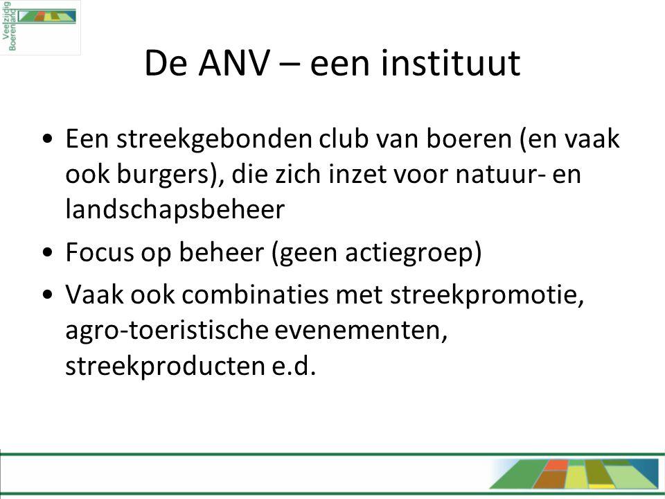 De ANV – een instituut •Een streekgebonden club van boeren (en vaak ook burgers), die zich inzet voor natuur- en landschapsbeheer •Focus op beheer (ge