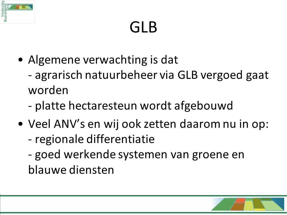 GLB •Algemene verwachting is dat - agrarisch natuurbeheer via GLB vergoed gaat worden - platte hectaresteun wordt afgebouwd •Veel ANV's en wij ook zet