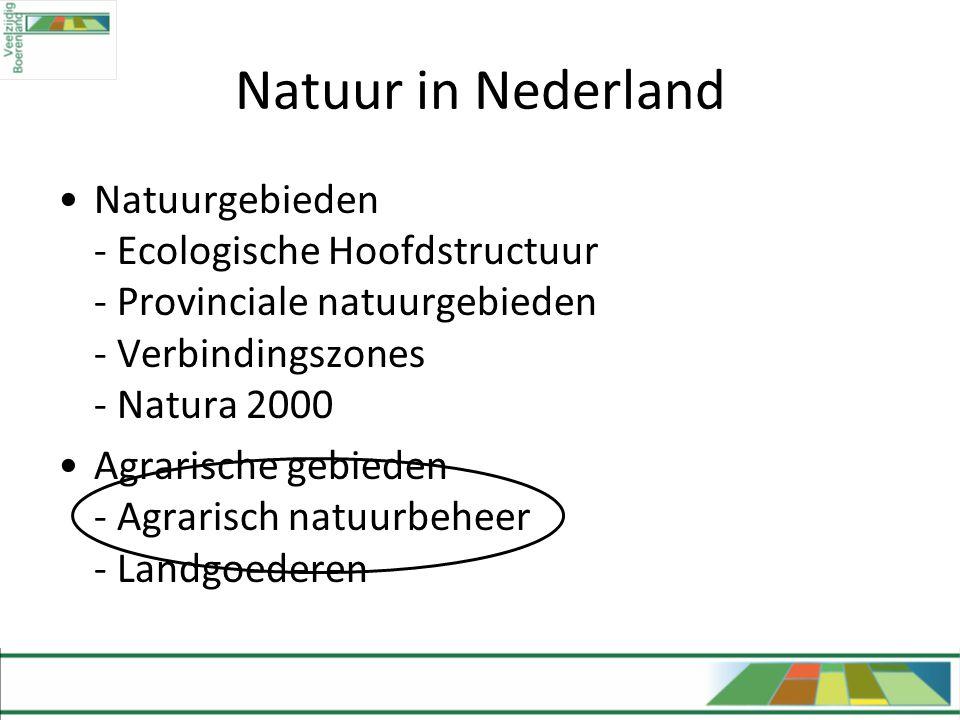 Natuur in Nederland •Natuurgebieden - Ecologische Hoofdstructuur - Provinciale natuurgebieden - Verbindingszones - Natura 2000 •Agrarische gebieden -