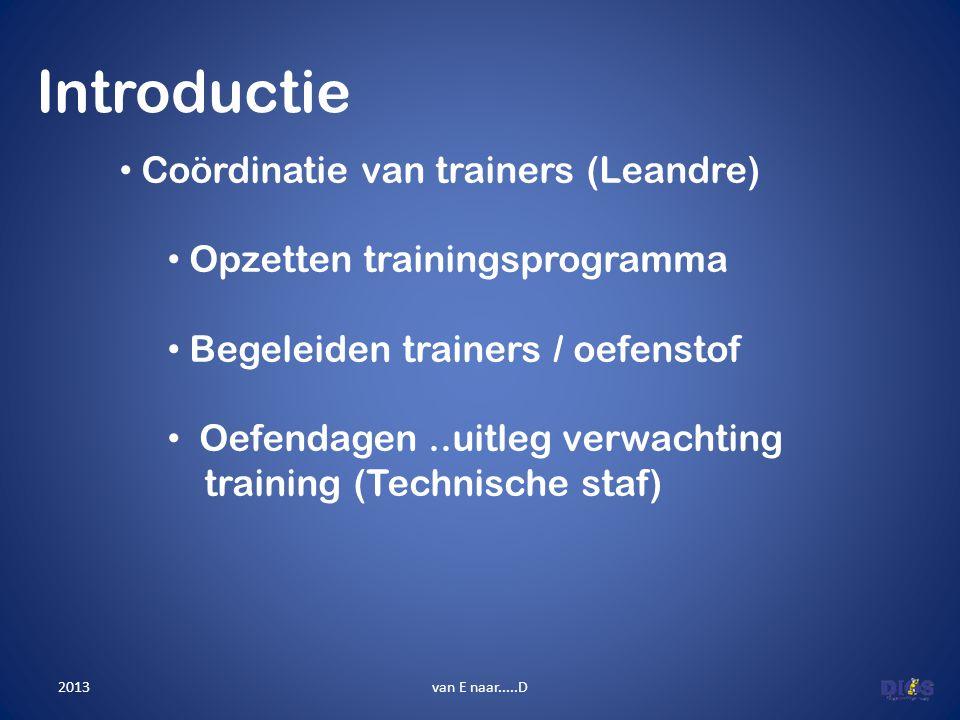 Introductie van E naar.....D • Coördinatie van trainers (Leandre) • Opzetten trainingsprogramma • Begeleiden trainers / oefenstof • Oefendagen..uitleg