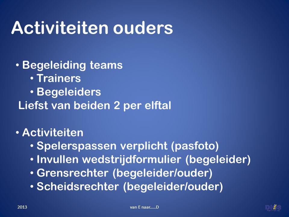 Activiteiten ouders van E naar.....D • Begeleiding teams • Trainers • Begeleiders Liefst van beiden 2 per elftal • Activiteiten • Spelerspassen verpli