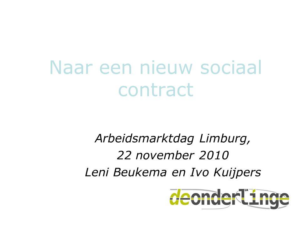 Naar een nieuw sociaal contract Arbeidsmarktdag Limburg, 22 november 2010 Leni Beukema en Ivo Kuijpers