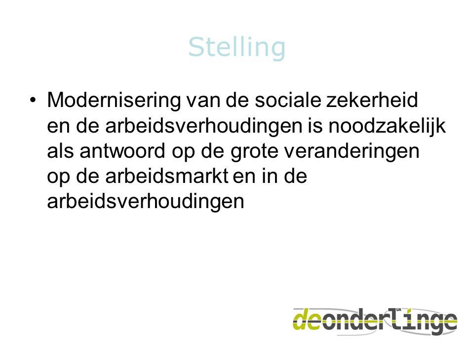Stelling •Modernisering van de sociale zekerheid en de arbeidsverhoudingen is noodzakelijk als antwoord op de grote veranderingen op de arbeidsmarkt e