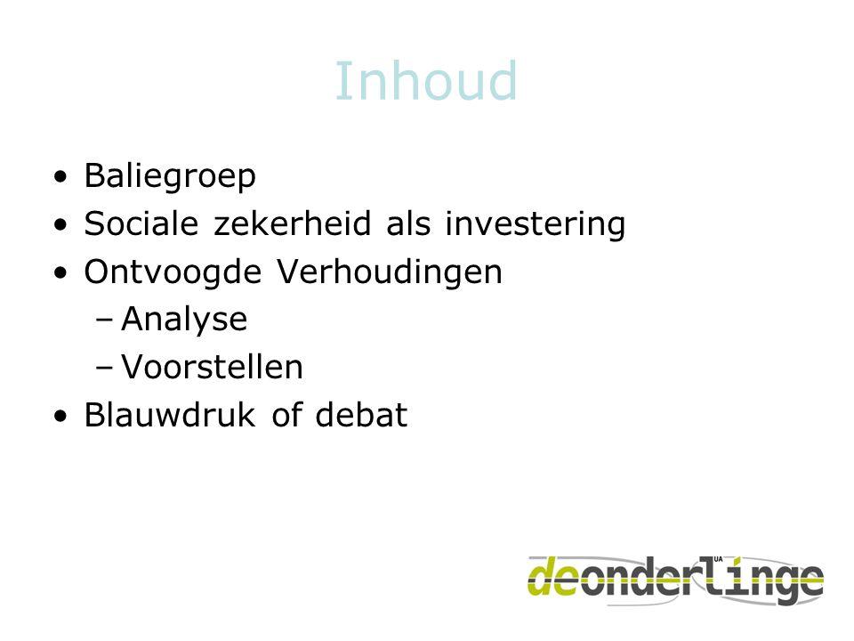 Inhoud •Baliegroep •Sociale zekerheid als investering •Ontvoogde Verhoudingen –Analyse –Voorstellen •Blauwdruk of debat
