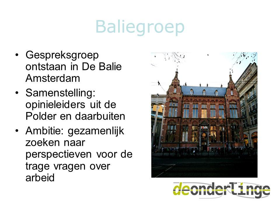 Baliegroep •Gespreksgroep ontstaan in De Balie Amsterdam •Samenstelling: opinieleiders uit de Polder en daarbuiten •Ambitie: gezamenlijk zoeken naar perspectieven voor de trage vragen over arbeid