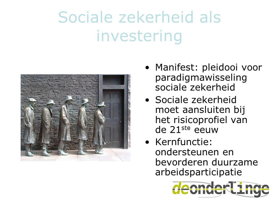 Sociale zekerheid als investering •Manifest: pleidooi voor paradigmawisseling sociale zekerheid •Sociale zekerheid moet aansluiten bij het risicoprofiel van de 21 ste eeuw •Kernfunctie: ondersteunen en bevorderen duurzame arbeidsparticipatie