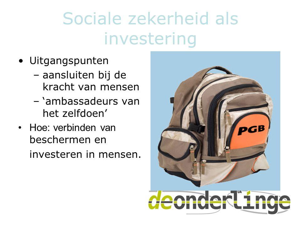 Sociale zekerheid als investering •Uitgangspunten –aansluiten bij de kracht van mensen –'ambassadeurs van het zelfdoen' •Hoe: verbinden van beschermen en investeren in mensen.