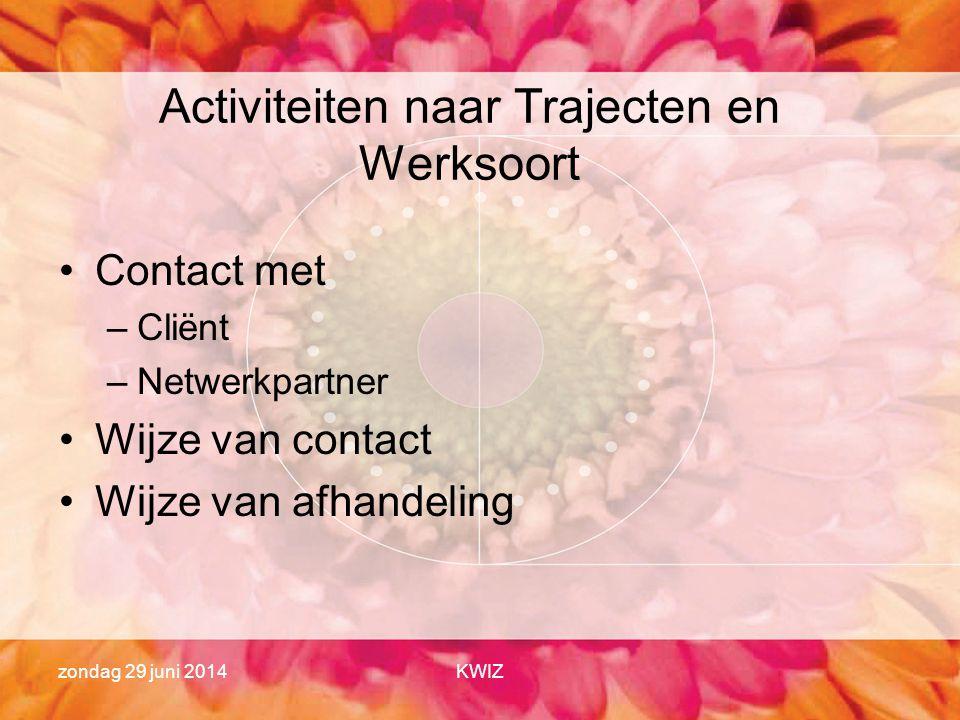 zondag 29 juni 2014KWIZ Activiteiten naar Trajecten en Werksoort •Contact met –Cliënt –Netwerkpartner •Wijze van contact •Wijze van afhandeling