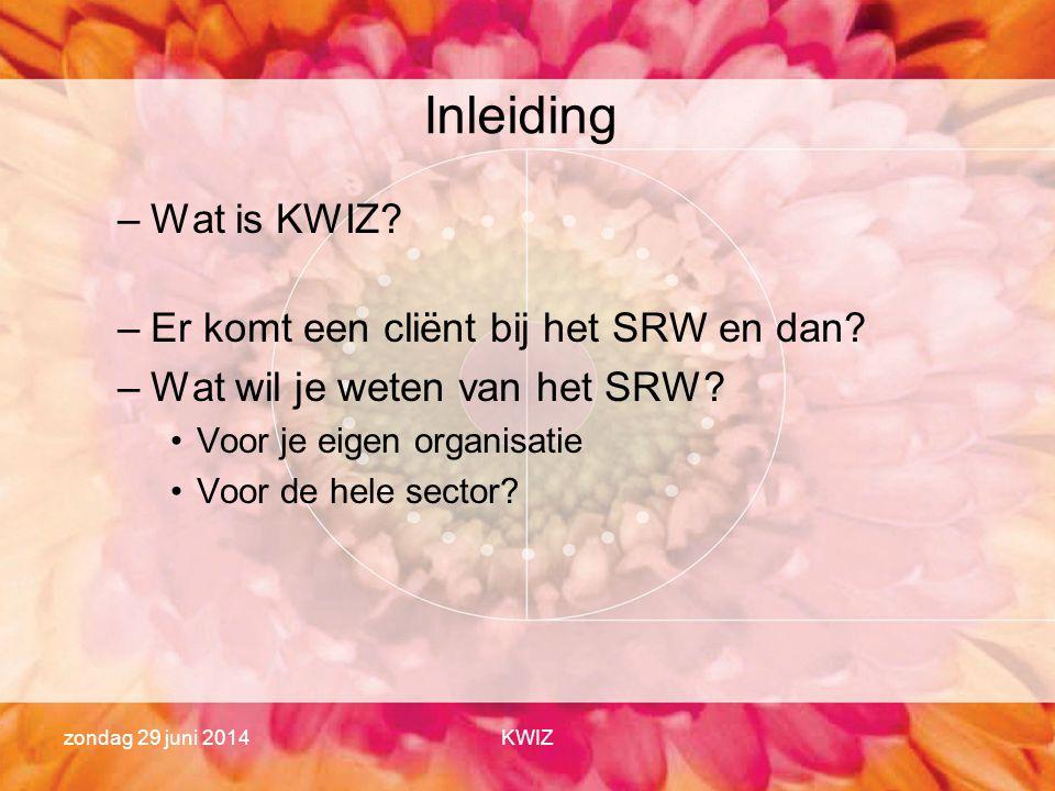 zondag 29 juni 2014KWIZ Inleiding –Wat is KWIZ? –Er komt een cliënt bij het SRW en dan? –Wat wil je weten van het SRW? •Voor je eigen organisatie •Voo