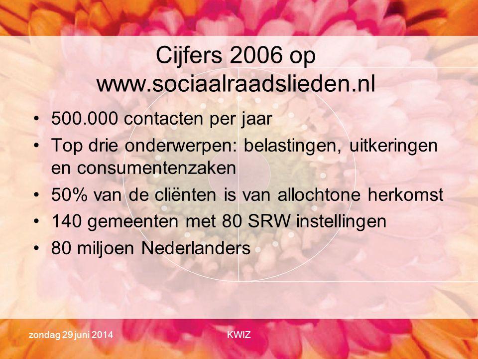 zondag 29 juni 2014KWIZ Cijfers 2006 op www.sociaalraadslieden.nl •500.000 contacten per jaar •Top drie onderwerpen: belastingen, uitkeringen en consu