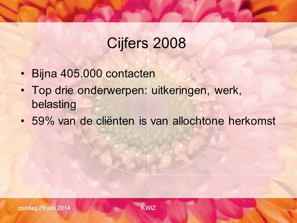zondag 29 juni 2014KWIZ Cijfers 2008 •Bijna 405.000 contacten •Top drie onderwerpen: uitkeringen, werk, belasting •59% van de cliënten is van allochto
