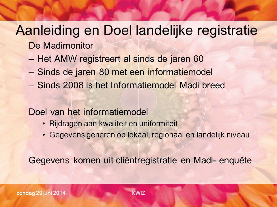 zondag 29 juni 2014KWIZ Aanleiding en Doel landelijke registratie De Madimonitor –Het AMW registreert al sinds de jaren 60 –Sinds de jaren 80 met een