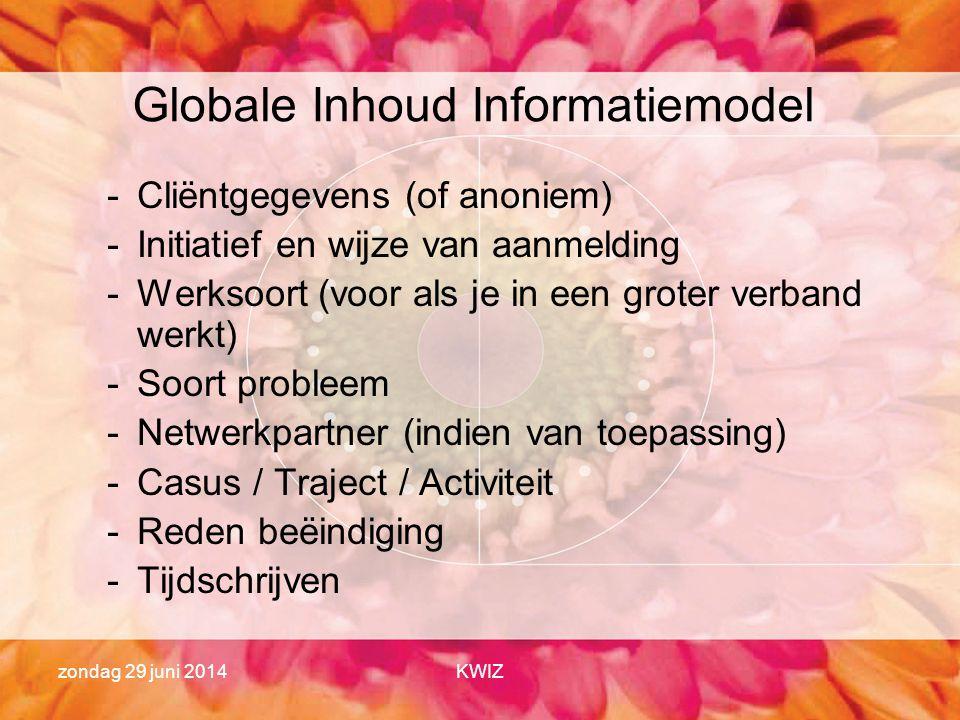 zondag 29 juni 2014KWIZ Globale Inhoud Informatiemodel -Cliëntgegevens (of anoniem) -Initiatief en wijze van aanmelding -Werksoort (voor als je in een