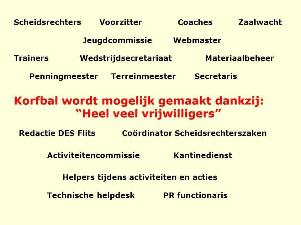 Scheidsrechters Voorzitter Coaches Zaalwacht Jeugdcommissie Webmaster Trainers Wedstrijdsecretariaat Materiaalbeheer Penningmeester Terreinmeester Sec