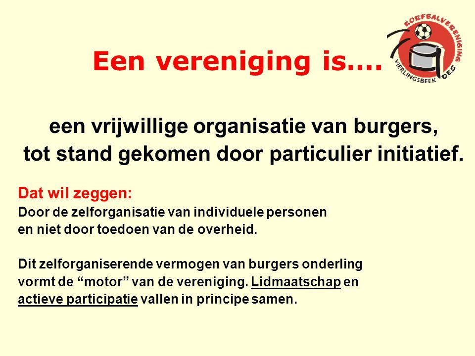 Een vereniging is…. een vrijwillige organisatie van burgers, tot stand gekomen door particulier initiatief. Dat wil zeggen: Door de zelforganisatie va