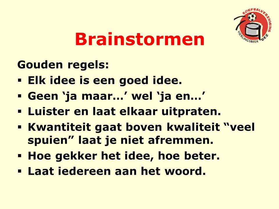 Brainstormen Gouden regels:  Elk idee is een goed idee.  Geen 'ja maar…' wel 'ja en…'  Luister en laat elkaar uitpraten.  Kwantiteit gaat boven kw