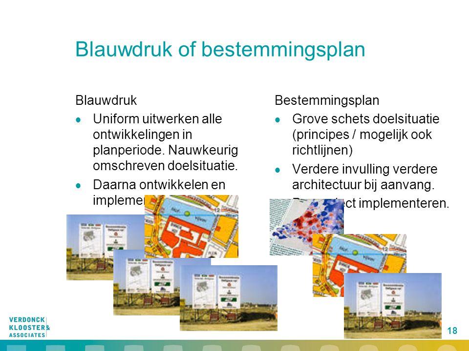 18 Blauwdruk of bestemmingsplan Blauwdruk  Uniform uitwerken alle ontwikkelingen in planperiode. Nauwkeurig omschreven doelsituatie.  Daarna ontwikk