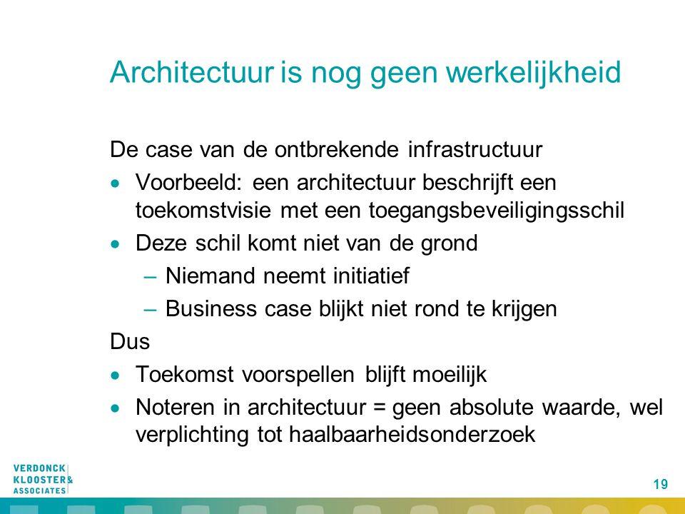 19 Architectuur is nog geen werkelijkheid De case van de ontbrekende infrastructuur  Voorbeeld: een architectuur beschrijft een toekomstvisie met een