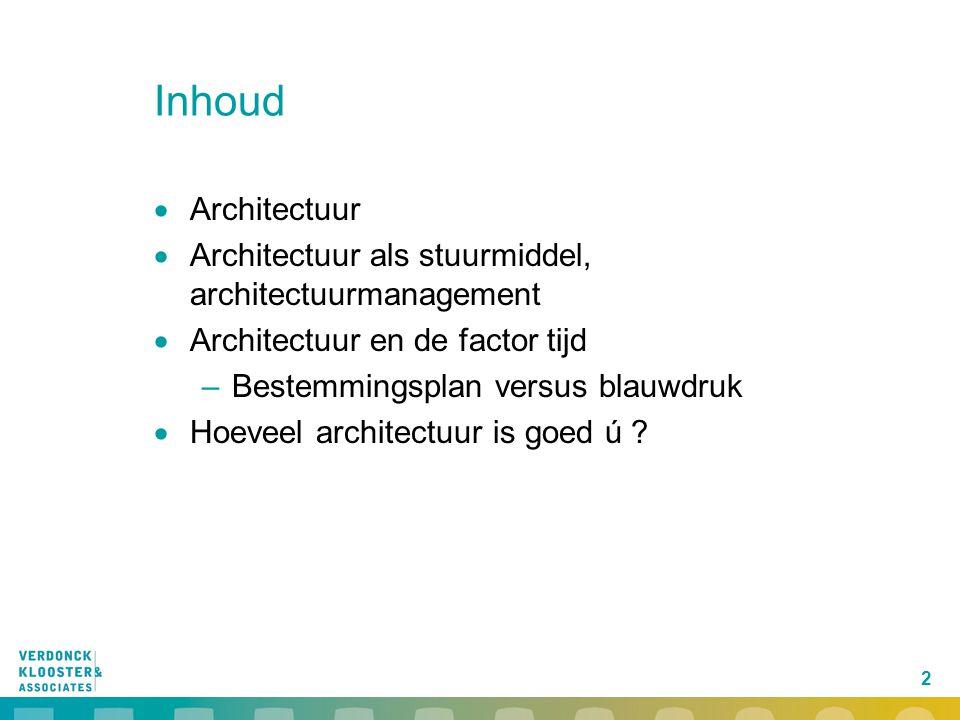 2 Inhoud  Architectuur  Architectuur als stuurmiddel, architectuurmanagement  Architectuur en de factor tijd –Bestemmingsplan versus blauwdruk  Ho