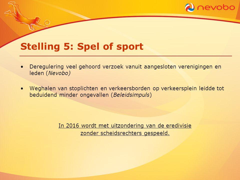 Stelling 5: Spel of sport •Deregulering veel gehoord verzoek vanuit aangesloten verenigingen en leden (Nevobo) •Weghalen van stoplichten en verkeersbo