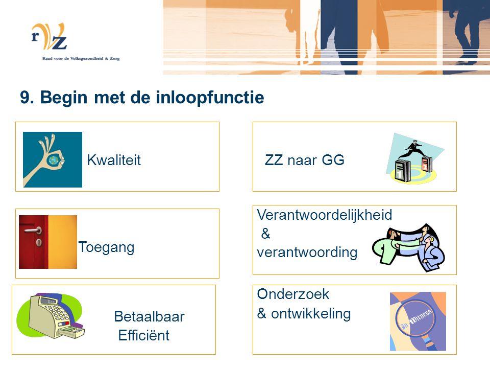 9. Begin met de inloopfunctie Kwaliteit Toegang Betaalbaar Efficiënt ZZ naar GG Verantwoordelijkheid & verantwoording Onderzoek & ontwikkeling