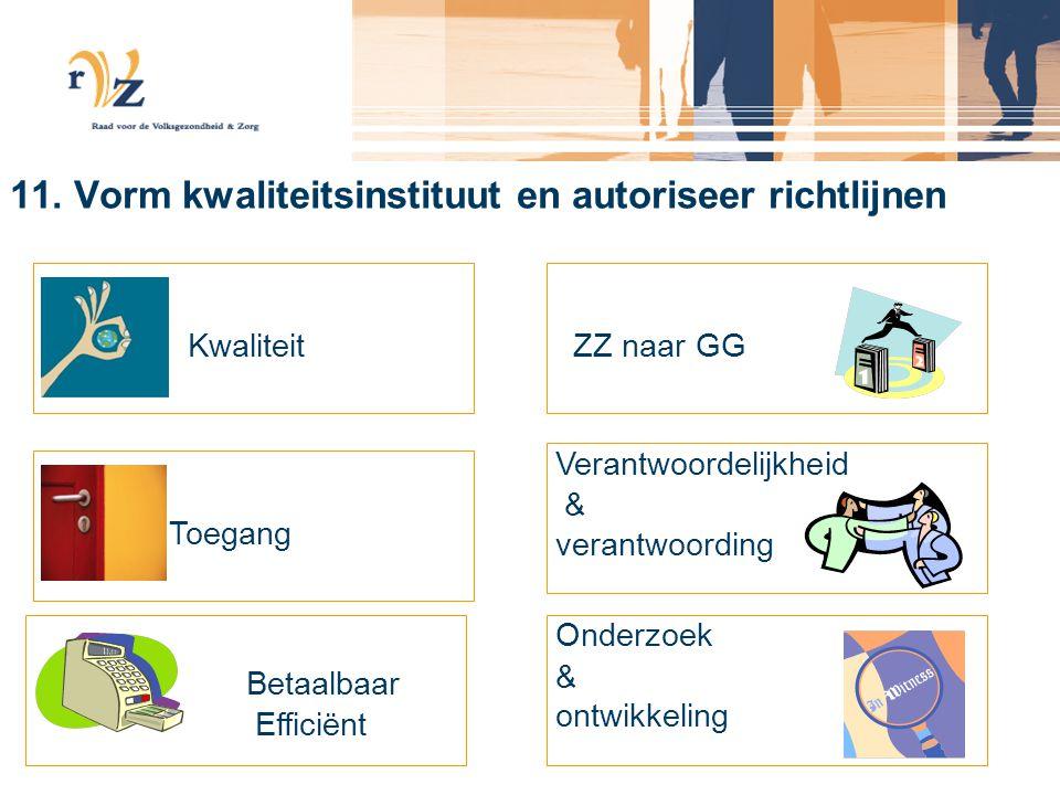 11. Vorm kwaliteitsinstituut en autoriseer richtlijnen Kwaliteit Toegang Betaalbaar Efficiënt ZZ naar GG Verantwoordelijkheid & verantwoording Onderzo