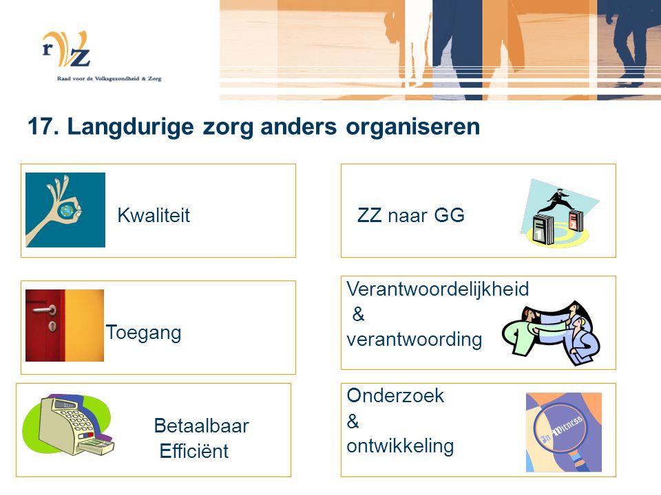 17. Langdurige zorg anders organiseren Kwaliteit Toegang Betaalbaar Efficiënt ZZ naar GG Verantwoordelijkheid & verantwoording Onderzoek & ontwikkelin