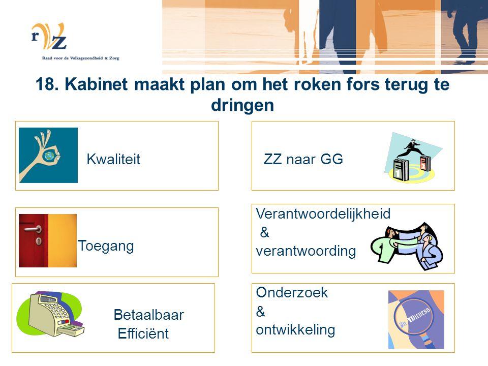 18. Kabinet maakt plan om het roken fors terug te dringen Kwaliteit Toegang Betaalbaar Efficiënt ZZ naar GG Verantwoordelijkheid & verantwoording Onde
